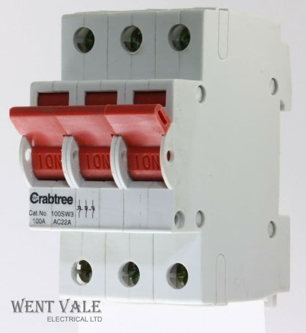 Crabtree Loadstar - 100SW3 - 100a  Triple Pole Switch Disconnector Used
